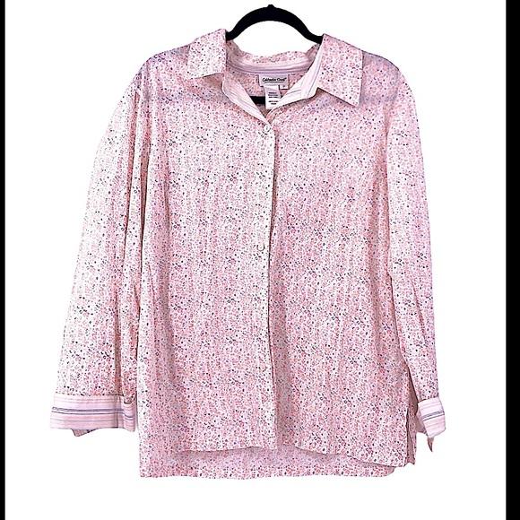 Vintage floral button up blouse farmcore size 2XL